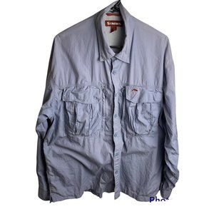 Simms Fishing Vented Long Sleeve Shirt Mens XL Blue Gray Outdoors Fold Up Sleeve